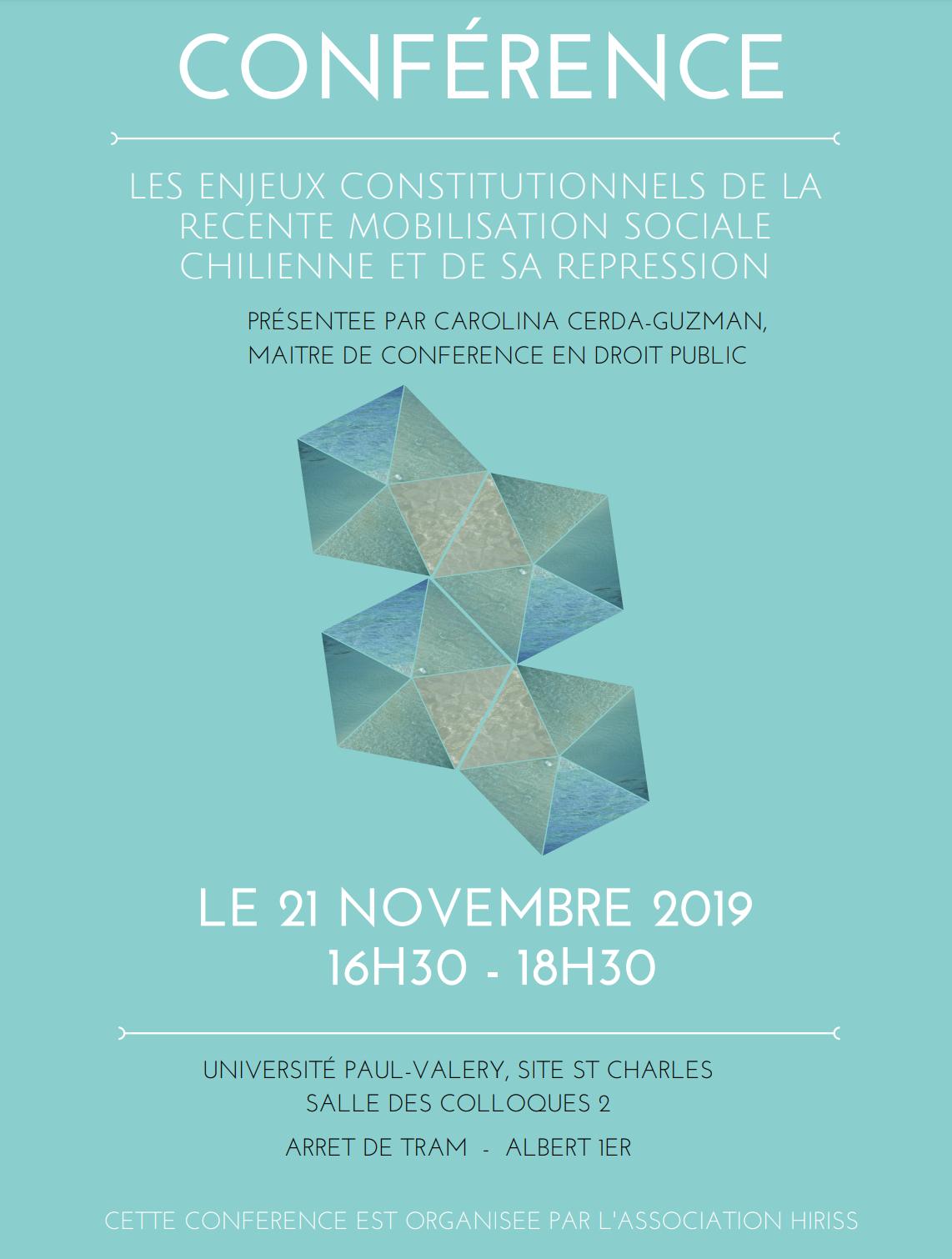 affiche de la conférence de Carolina Cerda-Guzman sur le Chili
