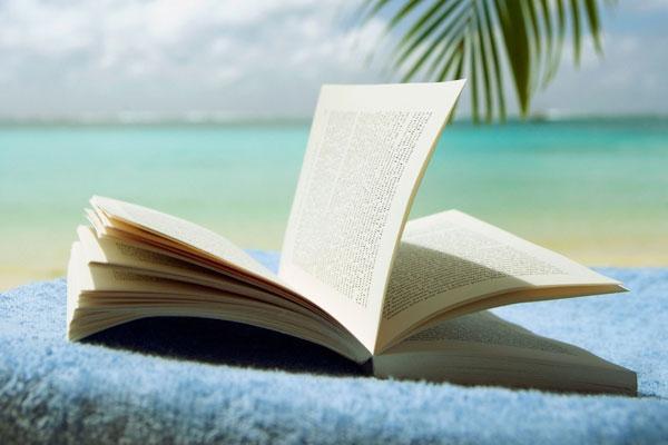 photo d'un livre avec la mer en arrière plan